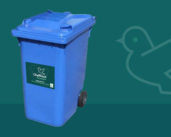 240 litre Shredding wheelie bin blue